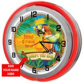 "Tiki Bar Margarita Paradise 18"" Double Neon Clock - Red"