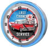 "Last Chance Garage 18"" Double Neon Clock - Blue"