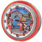 Custom Gas Station Hot Rod Garage Red Neon Clock