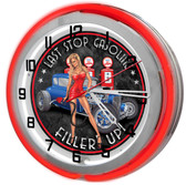 """Last Chance Gas Station 18"""" Double Neon Clock"""