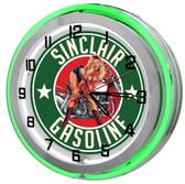 "Sinclair Gasoline Gas Station 18"" Double Neon Clock"