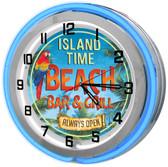 "Tiki Beach Bar Customized 18"" Double Neon Clock - Blue"