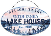 Lake House Cottage Decorative Home Welcome Sign - Blue