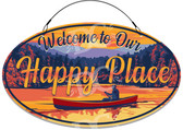 Sunset Lake Happy Place Decorative Welcome Sign