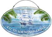 Nautical Sailboat Tradewinds Custom Welcome Sign