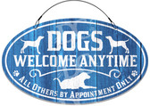 Dog House Front Door Welcome Sign - Blue