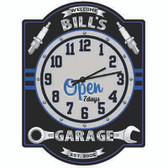 Personalized Garage Wall Clock Wrench Themed - Blue