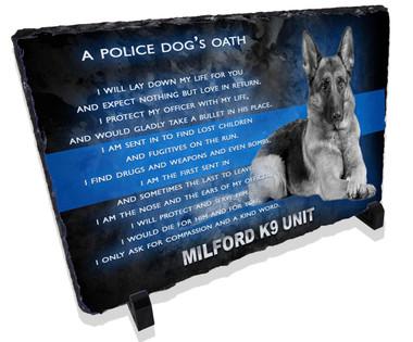 Police Dog Oath Stone Plaque
