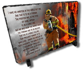Decorative Firefighter Bravery Stone Plaque