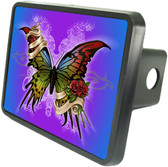 Rainbow Butterfly Trailer Hitch Plug Side View