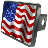 American Flag Trailer Hitch Plug Side View
