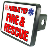 Personalized Fire & Rescue Trailer Hitch Plug Cover