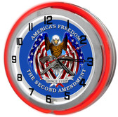 "Large 18"" Second Amendment Patriotic Clock with Red Neon Outer Ring"