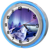 """Large 18"""" Howling Wolf Clock with Red Neon Outer Ring"""
