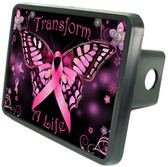 Cancer Butterfly Trailer Hitch Plug Side View