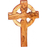 "Medium Wall Cross Celtic Olive Wood Catholic Cross 6"" Hanging Catholic Decor NEW"
