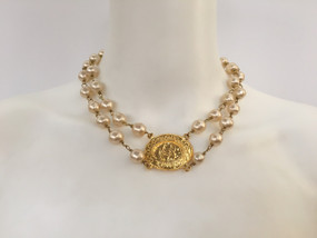 CHANEL DOUBLE STRAND PEARL & GOLD CC LOGO COIN NECKLACE