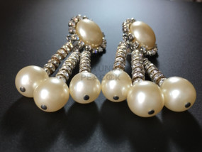CHANEL PEARL & STRASS RONDELLE EARRINGS