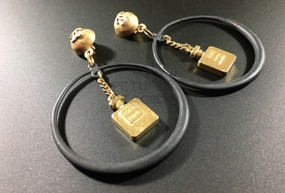 CHANEL BLACK HOOPS & COCO CHANEL PERFUME BOTTLES