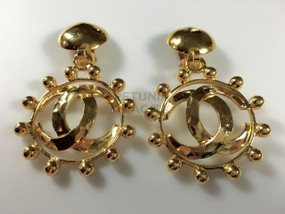 CHANEL OPENWORK CC LOGO EARRINGS