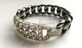 CHANEL GUNMETAL & CRYSTAL ART DECO BANGLE BRACELET