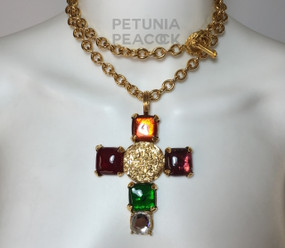 CHANEL MULTI-COLORED GRIPOX CROSS NECKLACE