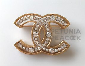 CHANEL CRYSTAL CC LOGO PIN
