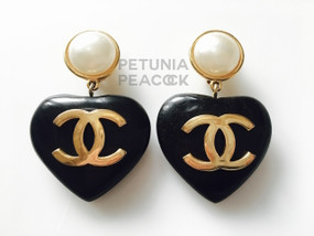 CHANEL CC LOGO EBONY WOOD HEART EARRINGS