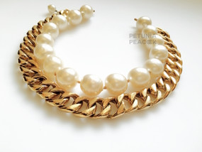 CHANEL CHUNKY CHAIN LINK & PEARL NECKLACE