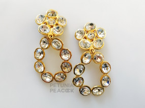 CHANEL CUT CRYSTAL OVAL HOOP WITH FLOWER TOP EARRINGS