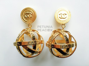 CHANEL GRAPHIC LOGO GLOBE EARRINGS
