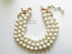 CHANEL TRIPLE STRAND PEARL CHOKER NECKLACE
