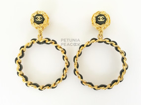 CHANEL BLACK LEATHER & GOLD LOGO HOOP EARRINGS
