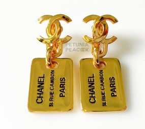 CHANEL DOG TAG EARRINGS
