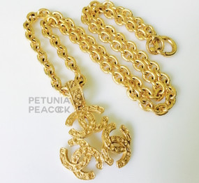 CHANEL FILIGREE TRIPLE LOGO MEDALLION NECKLACE