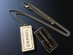 CHANEL CAMBON ENAMEL DOUBLE SIGN NECKLACE