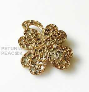 CHANEL MIRRORED CRYSTAL CLOVER PIN