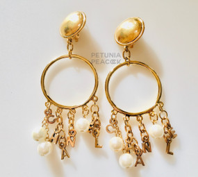 CHANEL C H A N E L CHARM & PEARL EARRINGS