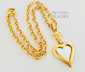 CHANEL MIRRORED HEART MEDALLION NECKLACE