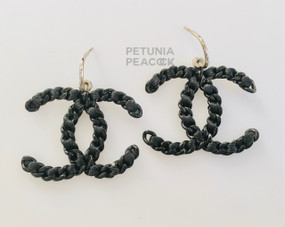 CHANEL BLACK ON BLACK LOGO EARRINGS