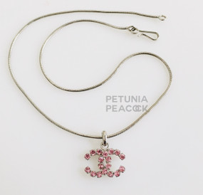 CHANEL PETITE PINK CRYSTAL CC LOGO NECKLACE