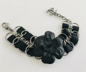 CHANEL BLACK CAMELLIA & RUTHENIUM BRACELET