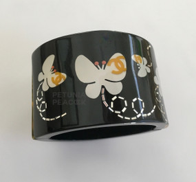 CHANEL BLACK BUTTERFLY CUFF BRACELET
