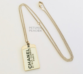 CHANEL 31 RUE CAMBON PARIS DOG TAG NECKLACE