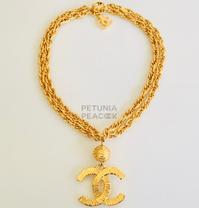 CHANEL CLASSIC DOUBLE CHAIN CC LOGO NECKLACE
