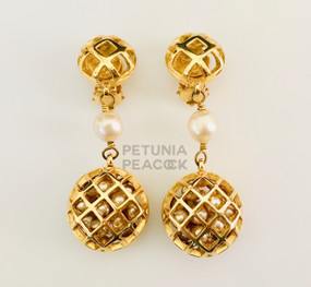 CHANEL CAGED PEARL EARRINGS