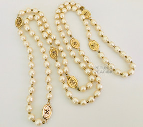 CHANEL BEAD, PEARL & CC LOGO NECKLACE