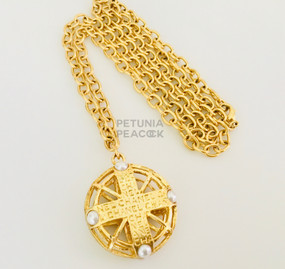 CHANEL CARVED OPENWORK MEDALLION NECKLACE