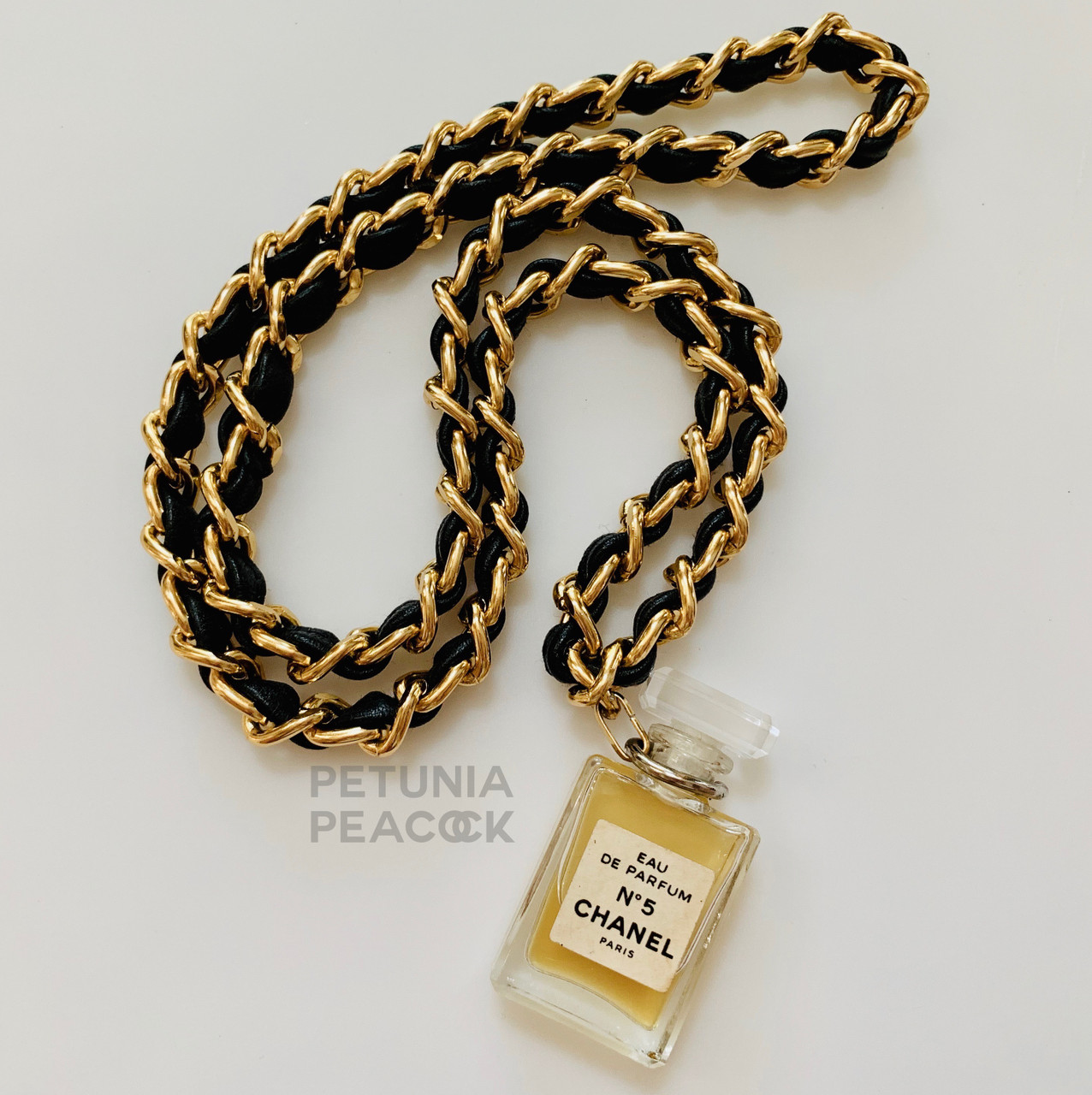 Chanel No 5 Perfume Bottle Necklace Petunia Peacock Vintage Chanel Jewelry