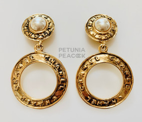 CHANEL LOGO & PEARL TOP HOOP EARRINGS